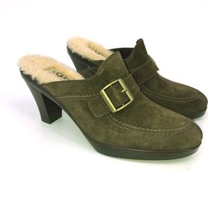 UGG Isabella Brown Buckle Sherpa Lined Clogs